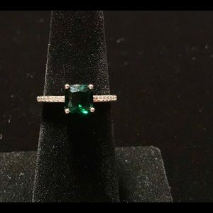 Square Shape Emerald 925 Silver Ring Size 6